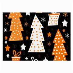 Orange Playful Xmas Large Glasses Cloth (2 Side) by Valentinaart