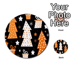Orange Playful Xmas Multi Purpose Cards (round)