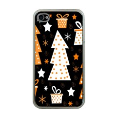 Orange Playful Xmas Apple Iphone 4 Case (clear) by Valentinaart