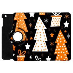 Orange Playful Xmas Apple Ipad Mini Flip 360 Case by Valentinaart
