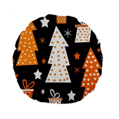 Orange Playful Xmas Standard 15  Premium Round Cushions by Valentinaart