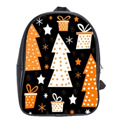 Orange Playful Xmas School Bags (xl)