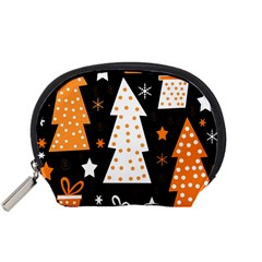 Orange Playful Xmas Accessory Pouches (small)  by Valentinaart