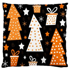 Orange Playful Xmas Standard Flano Cushion Case (two Sides) by Valentinaart