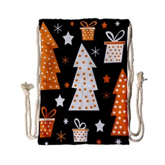 Orange Playful Xmas Drawstring Bag (small) by Valentinaart