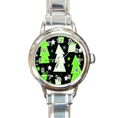 Green Playful Xmas Round Italian Charm Watch by Valentinaart