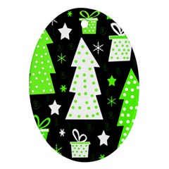 Green Playful Xmas Ornament (oval)