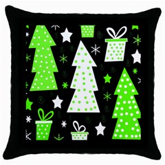 Green Playful Xmas Throw Pillow Case (black) by Valentinaart