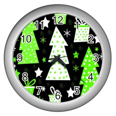 Green Playful Xmas Wall Clocks (silver)  by Valentinaart
