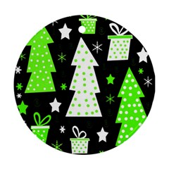 Green Playful Xmas Round Ornament (two Sides)  by Valentinaart