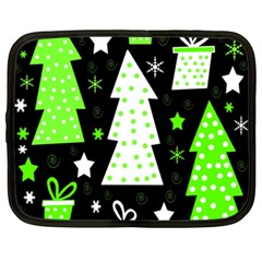 Green Playful Xmas Netbook Case (xxl)  by Valentinaart