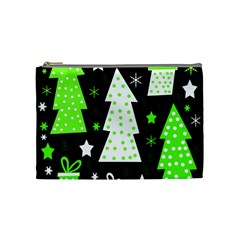Green Playful Xmas Cosmetic Bag (medium)  by Valentinaart
