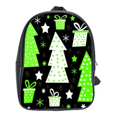 Green Playful Xmas School Bags(large)  by Valentinaart