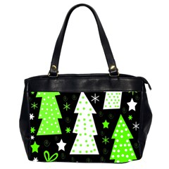 Green Playful Xmas Office Handbags (2 Sides)  by Valentinaart