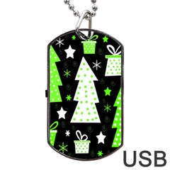 Green Playful Xmas Dog Tag Usb Flash (one Side) by Valentinaart