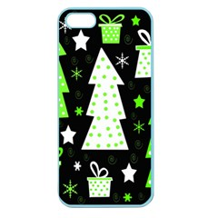 Green Playful Xmas Apple Seamless Iphone 5 Case (color) by Valentinaart