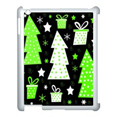 Green Playful Xmas Apple Ipad 3/4 Case (white) by Valentinaart