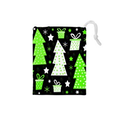 Green Playful Xmas Drawstring Pouches (small)  by Valentinaart