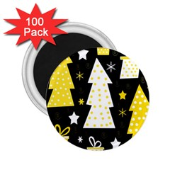 Yellow Playful Xmas 2 25  Magnets (100 Pack)  by Valentinaart