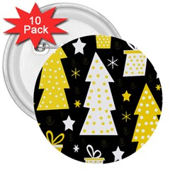 Yellow Playful Xmas 3  Buttons (10 Pack)  by Valentinaart