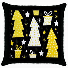 Yellow Playful Xmas Throw Pillow Case (black) by Valentinaart