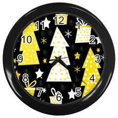 Yellow Playful Xmas Wall Clocks (black) by Valentinaart