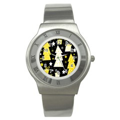 Yellow Playful Xmas Stainless Steel Watch by Valentinaart