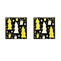 Yellow Playful Xmas Cufflinks (square) by Valentinaart