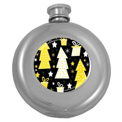 Yellow Playful Xmas Round Hip Flask (5 Oz) by Valentinaart