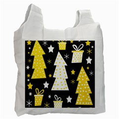 Yellow Playful Xmas Recycle Bag (one Side) by Valentinaart