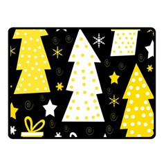 Yellow Playful Xmas Fleece Blanket (small) by Valentinaart