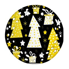 Yellow Playful Xmas Ornament (round Filigree)