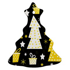 Yellow Playful Xmas Christmas Tree Ornament (2 Sides) by Valentinaart