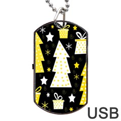 Yellow Playful Xmas Dog Tag Usb Flash (one Side) by Valentinaart
