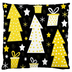 Yellow Playful Xmas Large Flano Cushion Case (one Side) by Valentinaart