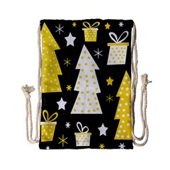 Yellow Playful Xmas Drawstring Bag (small) by Valentinaart