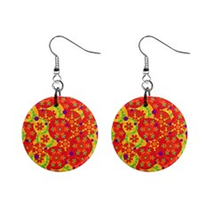 Orange Design Mini Button Earrings by Valentinaart