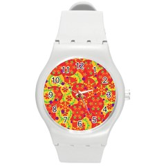 Orange Design Round Plastic Sport Watch (m) by Valentinaart