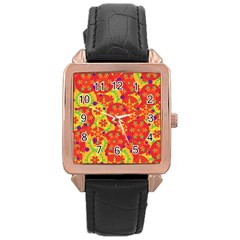 Orange Design Rose Gold Leather Watch  by Valentinaart