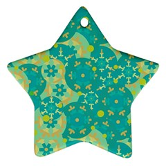Cyan Design Star Ornament (two Sides)  by Valentinaart