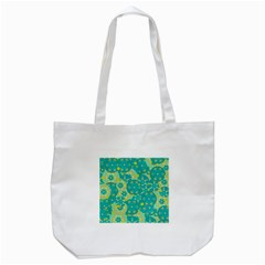 Cyan Design Tote Bag (white) by Valentinaart