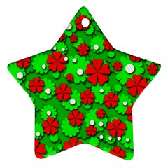 Xmas Flowers Ornament (star)  by Valentinaart
