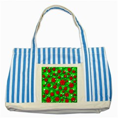 Xmas Flowers Striped Blue Tote Bag by Valentinaart