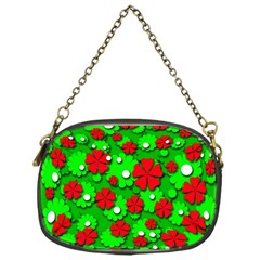 Xmas Flowers Chain Purses (one Side)  by Valentinaart