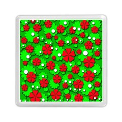 Xmas Flowers Memory Card Reader (square)  by Valentinaart