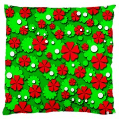 Xmas Flowers Large Cushion Case (two Sides) by Valentinaart