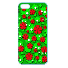 Xmas Flowers Apple Seamless Iphone 5 Case (color) by Valentinaart