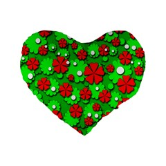 Xmas Flowers Standard 16  Premium Heart Shape Cushions by Valentinaart