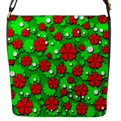 Xmas Flowers Flap Messenger Bag (s) by Valentinaart