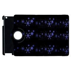 Xmas Elegant Blue Snowflakes Apple Ipad 2 Flip 360 Case by Valentinaart